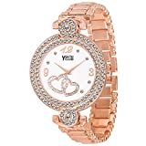 Rose gold studded White Dial Rose Gold Colored Strap