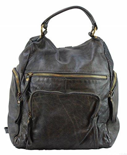BZNA Bag Stella dunkel grau grey Backpacker Designer Rucksack Damenhandtasche Schultertasche Leder Nappa sheep ItalyNeu