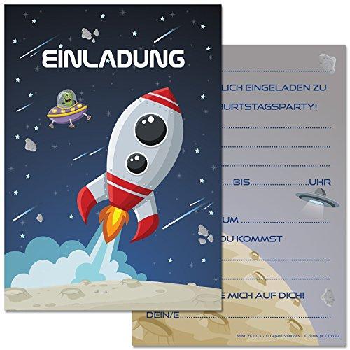 12 Einladungskarten im Set zum Kindergeburtstag mit Motiv Rakete, Weltraum, Weltall, Raumschiff. Einladungen zum Geburtstag für Jungen und Mädchen (12 Einladungen)