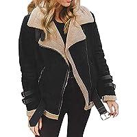 Abrigo de Lana de Piel de Invierno Mujer sintética Chaqueta de Aviador Moto de Solapa cálida de Outwear Trench Parka Jacket Capa Chaqueta Trenca Chaquetas