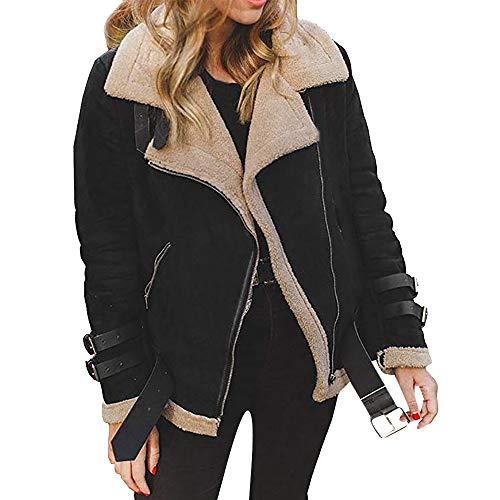 HEETEY Frauen Mode lässig Mantel Winter Frauen Kunstpelz Fleece Mantel Outwear Warmer Revers Motorrad-Motor Fliegerjacke Lammfell Mantel Revers