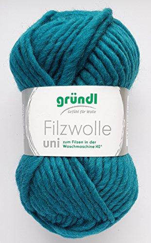 Gründl Filzwolle uni Fb. 62 - petrol, Wolle zum Stricken & Filzen in der Waschmaschine