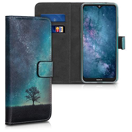 kwmobile Nokia 7.2 Hülle - Kunstleder Wallet Case für Nokia 7.2 mit Kartenfächern & Stand - Galaxie Baum Wiese Design Blau Grau Schwarz
