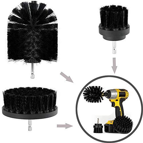 3Pcs Bathroom Surfaces Tub, Shower, Tile and Grout All Purpose Power Scrubber Cleaning Kit Black (A)