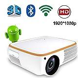 Inson HD-Projektor 1920 * 1080P Intelligenter WiFi-Projektor 200 '' LED-Projektor 5000 Lumen Mit Zwei Lautsprechern Smartphone-Bildschirm Synchronisieren Kompatibel Mit PS4 HDMI VGA AV Und USB,Weiß