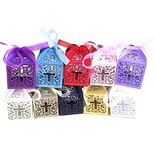 Onsinic 10pcs Cajas del De La Cruz con Embalaje del Regalo De La Cinta Bolsas para Baby Shower Fiesta De Cumpleaños De La Decoración De Color Azar