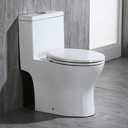 "WOODBRIDGE B0500 T-0031 Small 24.3"" Long X 14.5"" Wide X 27.8"" High one Piece Short Compact Bathroom Tiny Commode Water Closet Dual Flush Modern Toilet."