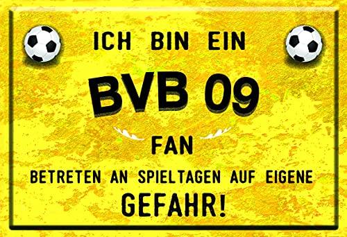 Mediarte Deko Blechschild Ich Bin EIN BVB Fan Dortmund Geschenk Männer Fussball Fanartikel Fußball Schild