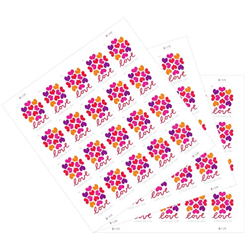 The News Stamps Love Heart Blossom Forever Postage Stamps Additional 10# Business Envelope (3 Sheet - 60 Stamps)