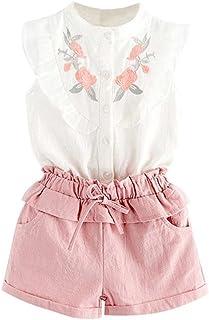 b39d54a357797 Amlaiworld ❤️Ensembles de Bébé Filles Bébé Fille Vêtements de Tenue  Broderie T-Shirt Tops
