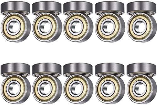 608zz Rodamientos de Bolas 8 x 22 x 7 mm,Metal Doble Revestimiento,Rodamientos skateboard, 20X 608 ZZ Bola de monopatín acanalada en miniatura con doble blindaje de metal para scooter,patines en línea