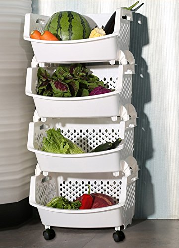 Étagères BOBE Shop- Fruit de légumes Ensemble de Cuisine Ensemble de Rangement de Rangement Multicouches Ustensiles Panier avec poulie Mobile (Couleur : Blanc)