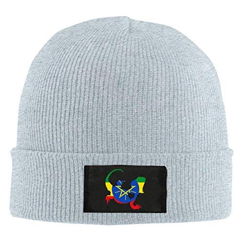 DLing Die Äthiopien-Flaggen-bärtige Drache-Schattenbild-Strickmütze der Männer, warme Mode-Schädel-Kappe