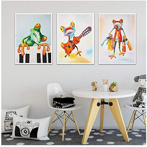 Kleurrijke kikker piano spelen en winkelen kinderen muur poster canvaskunst schilderij kinderen decoratie foto's slaapkamer decoratie 40x60cmX3 (frameloze)