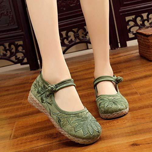 SGADSH Zapatos Planos Bordados de Tela de algodón Suave Hechas a Mano para Mujer con Zapatillas de Deporte para Mujer cómodas con Plataforma de 2 cm Zapatos Casuales para Mujeres