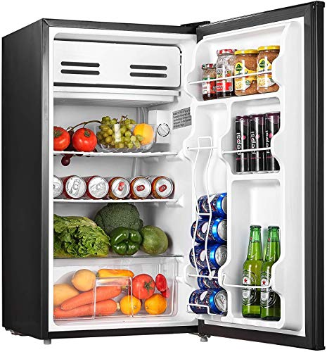 AICOOK Small Fridge - 3.3 Cu.Ft Under Counter Mini Refrigerator with Small Freezer, Energy Star Mini Fridge Drinks Food Beer Storage for Bedroom Dorm or Apartment with Removable Shelves and Drawer