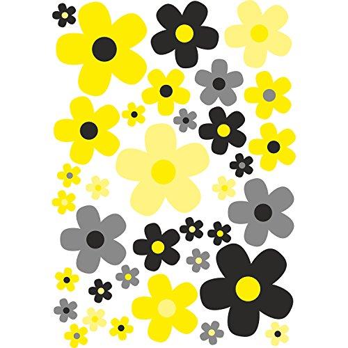 younikat Blumen-Aufkleber-Set Blümchen schwarz-gelb I Flower-Power Sticker für Fahrrad Laptop Handy Küche Bad Fahrzeug-Aufkleber I wetterfest I kfz_284