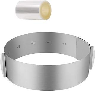 ZITFRI Cercle Gateau Cercle a Patisserie Reglable 16-30cm avec Collier à Gâteau 10cm×10m - Cadre Extensible Entremet Rond ...