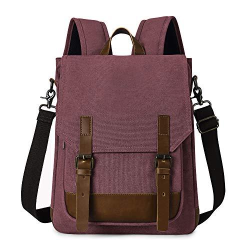 TAK Zaino Casual retro Borsa Tracolla Vintage Zaino 2 in 1 Multifunzione backpack Zaino Uomo Donna Zaino Con Scomparto per Laptop per Scuola Lavoro Viaggio Rosso
