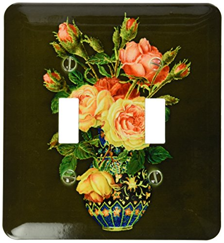 3drose Lsp 54003 2 Yellow And Pink Rose Bouquet With Green Leaves In Vintage Vase On Dark Moss Textured Background Toggle Switch Shefinds