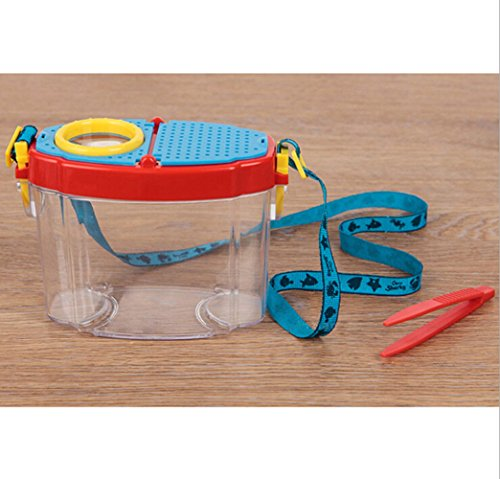 Kids Insect Viewer 5X Magnifying Glass Backyard Bug Catcher Box with Neck Lanyard and Catching Tool,Nature Exploration Science and Viewer Microscope,Transparent Insect Magnifier for Bugs and Insects