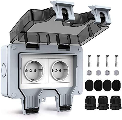 Enchufe doble exterior eléctrico IP66,enchufe de pared antipolvo, resistente a la intemperie, potencia para habitaciones húmedas, tomas de pared impermeables con 2 grupos con tapas