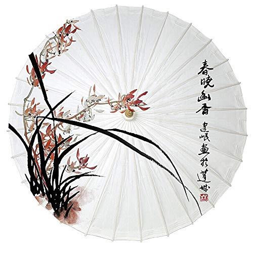 Paraguas Paraguas de Papel de Aceite Personalizado Estilo Chino orquídea orquídea orquídea de bambú crisantemo Pintura de la Tinta del Paraguas del Arte (Color : #1)