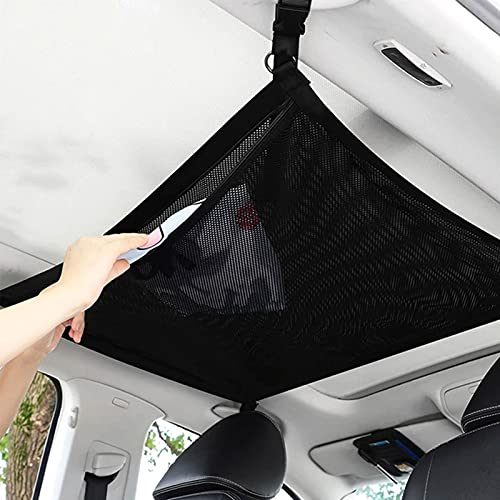 Car Ceiling Cargo Net - Car Cargo Net Roof Organizer with Adjustable Strap, Double Zipper, Double-Layer Mesh Car Ceiling Cargo Net for Most Car SUV MPV Truck