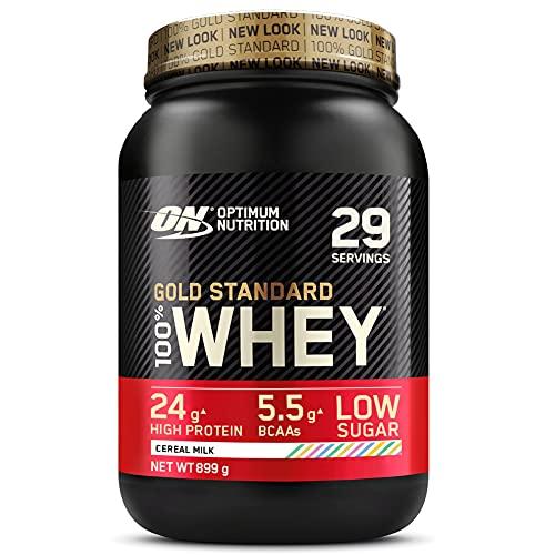 Optimum Nutrition Gold Standard 100% Whey Proteine in Polvere con Proteine Isolat, Aminoacidi e Glutammina per la Massa Muscolare, Latte dei Cereali, 29 Porzioni, 0.9 kg, il Packaging Potrebbe Variare