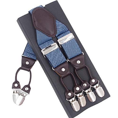 DIAOKUD Bretels Suspenders, Elastische 6-Clips Blauwe Streep Suspenders Leren Mode Casual Broek Mannelijke Vintage Band Vader/Man Gift 3.5 * 120 Cm