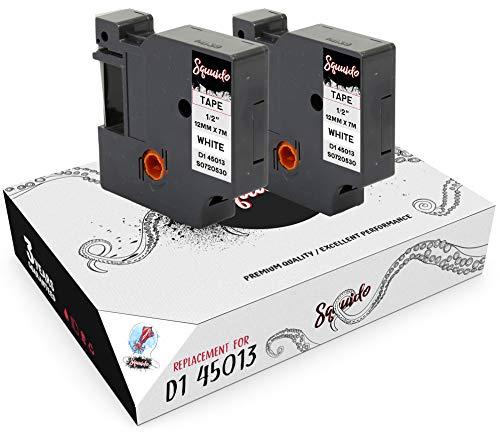 Squuido 2 Casetes de Cinta Negro sobre Blanco Etiquetas D1 45013 S0720530 12mm x 7m compatibles para Dymo LabelManager PnP 160 160P 210D 280 360D 420P 500TS MobileLabeler & LabelWriter 450 Duo