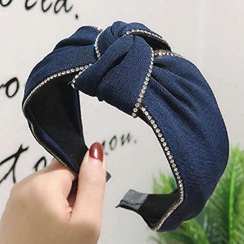 Tony plate Accessoires pour Cheveux Large Bandeau Côté Double Chaîne Strass Bandeau Filles Classique Solide Chapeaux Doux Turban Cheveux Accessoires-Serre-Tête Bleu Foncé