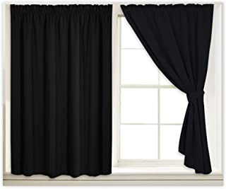 RYB HOME Vertical Blackout Blinds Curtains Drapes, Thermal Insulated Self-Sticky Curtains Hanging Without Rod, Match with Window-Shades Includes 2 Ropes, Each Panel W 40 x L 45 inches, Black, 2 Pcs