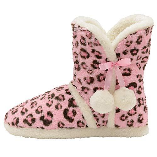 Dunlop, Stiefel-Hausschuhe für Damen, flauschig, warm, von Annabelle Gretel Farrah Fairisle, gestrickte Slipper-Stiefel, Pink - pink leopard - Größe: 40/41 EU