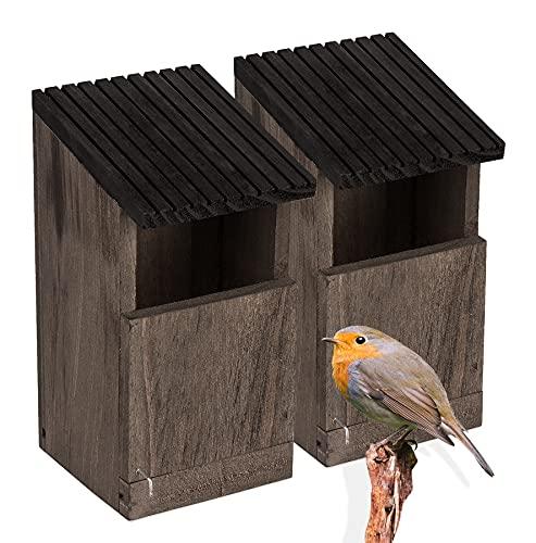 BigDean 2X Nistkasten Rotkehlchen Nest Vogelhaus aus Natur Holz Braun Grau Bruthöhle Nisthaus offen für Wildvögel