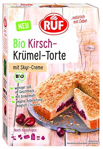 RUF Bio Kirsch Krümel Torte mit Skyr Creme, Backmischung, vegane Rezeptur, weniger süß, 335 g, 13742