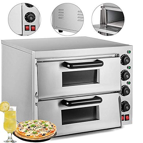 VEVOR Commercial Pizza Oven Stainless Steel Pizza Oven Countertop 110V Electric Pizza and Snack Oven Deluxe Pizza and Multipurpose Oven for Restaurant Home Pizza Pretzels Baked Dishes (Double oven)