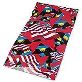 Quintion Robeson Bandera de Antigua y Barbuda con pabellón de América Bandanas Diadema Cara para Mujeres Hombres Deportes al Aire Libre Ciclismo Correr Impresión a una Cara