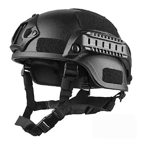 Odoukey Schutz Airsoft Helme, Mich 2000 Stil ACH Helm mit NVG Einfassung und seitliche Schiene Feld Cs Spiel Helm Schwarz