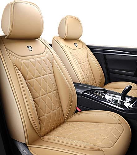 HZWZ Cubiertas De Asiento De Automóviles Conjunto Completo, Ajuste Universal La Mayoría De Los Sedan SUV, para Audi A1 A4 Q3 Ford Focus, Etc. con Cuero Falso Impermeable,Beige