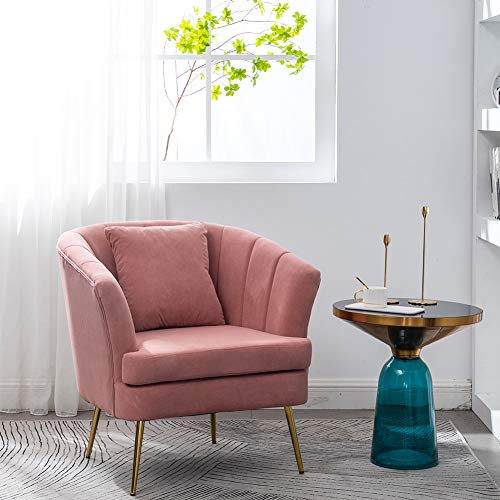 Warmiehomy Modern Velvet Tub Chair Occasional Chair with Solid Gold Plated Metal Legs Armchairs for Living Room Bedroom Office Lounge (Pink)