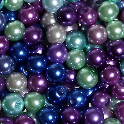 TOAOB 500 Stück 8mm Glasperlen Runde Kalter Ton Mehrfarbig Perlen für Schmuckherstellung