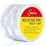 Moltres DOT-C2 Reflective Tape White Silver 2Inch X 30Feet Waterproof Safety Adhesive Conspicuity Warning Caution Reflector tape for Trailer,Cars,Trucks,Vehicle,Outdoor