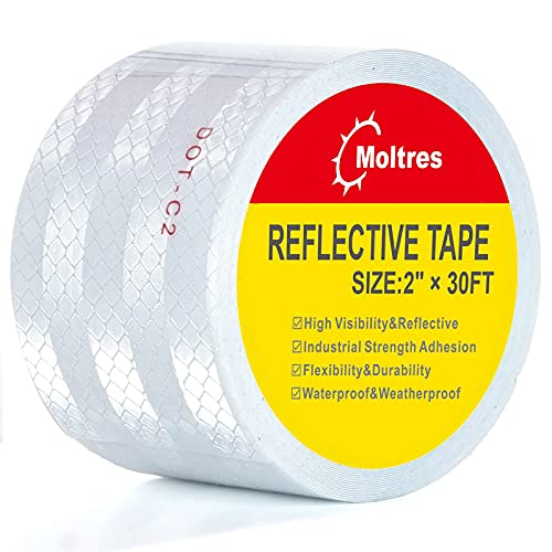 Moltres DOT-C2 Reflective Tape,White Silver 2 Inch X 30 Feet Waterproof Conspicuity Safety Tape,Trailers Self Adhesive Warning Caution Reflector tape for Cars Trucks Trailer Vehicle Outdoor