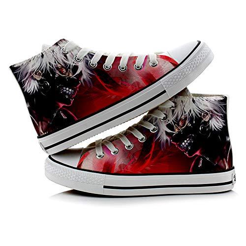 JPTYJ Tokyo Ghoul Kaneki Ken High Top Graffiti Unisex High Top Zapatos Anime Casual Shoes Estudiantes Canvas Shoes Sneakers B-37