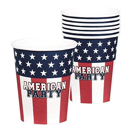 Neu: 6 Party-Becher * American Party * für Eine USA-Mottoparty | Amerika US Motto BBQ Barbecue Barbeque Pappbecher Partybecher Cups