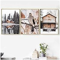 LIUYUEKAI 杉の冬の雪の森の家鳥の壁アートキャンバス絵画北欧のポスターとプリント壁の写真リビングルームの装飾-40x60cmx3フレームなし