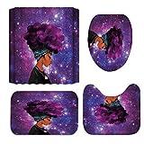 Minyose 4 Unids/Set Cortina De Ducha Cool Girl Cortina De Ducha De Poliéster Impermeable Afro Mujer Afroamericana Señora Soplando Burbujas para Masticar 180X180Cm