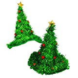 WeGlow - Set of 2 Light Up Christmas Tree Hats - Funny LED Holiday Hat for Kids and Adults Perfect for Ugly Sweater Party - 2 Pack