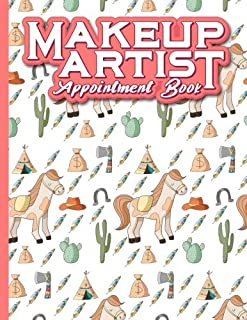 Makeup Artist Appointment Book: 4 Columns Appointment Note, At A Glance Appointment Book, Large Appointment Book, Cute Cowboys Cover (Volume 32)